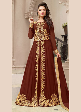 Reddish Brown Georgette A Line Lehenga