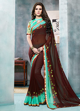 Brown Georgette Abstract Printed Saree