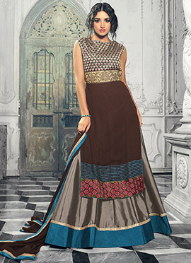 Brown Georgette Long Choli A Line Lehenga