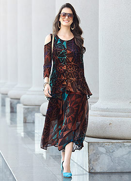 Brown Georgette Long Kurti