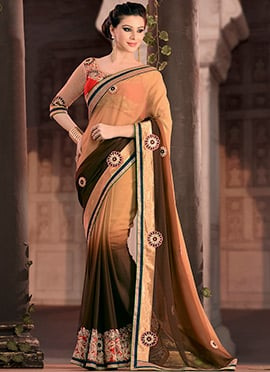 Brown Georgette Ombre Dyed Saree