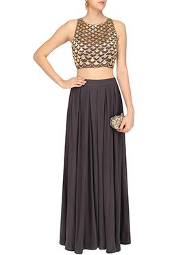 Brown Georgette Skirt Set