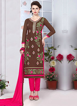 Brown Glass Cotton Straight Pant Suit