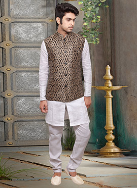 Brown Jacquard Art Silk Nehru Jacket