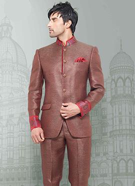 Brown Jute Bandhgala Suit