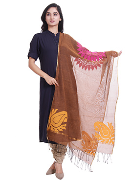 Brown Jute Net Dupatta