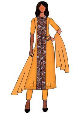 Brown Kalamkari Straight Pant Suit