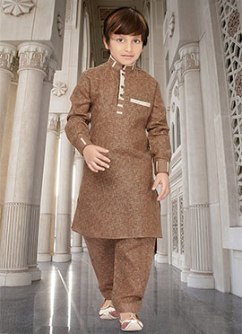 Brown Kids Art Silk Cotton Pathani Set