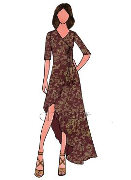 Brown Linen Georgette Asymmetrric Long Kurthi