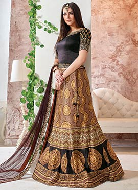 Brown Linen Printed Lehenga Choli