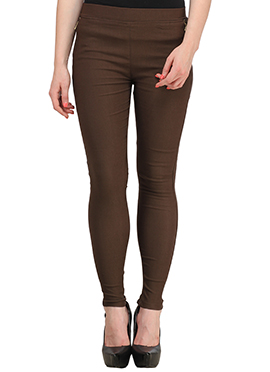 Brown Lycra Cotton Straight Pant