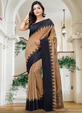 Brown Matka Silk Saree