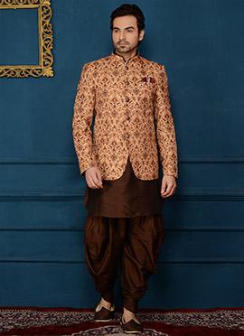 Brown N Beige Art Benarasi Silk Achkan Sherwani