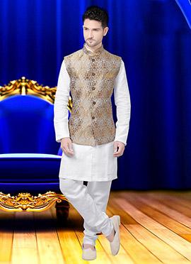 Brown N Beige Art Silk Brocade Nehru Jacket