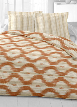 Brown N Beige Cotton King Size Bed Sheet