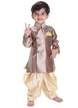 Brown N Beige Silk Cotton Kids Kurta Pyjama