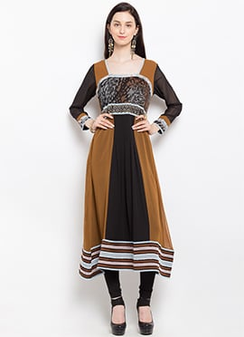Brown N Black Cotton Anarkali Kurti