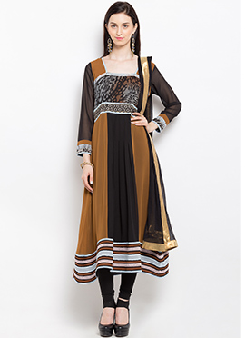 Brown N Black Cotton Anarkali Suit