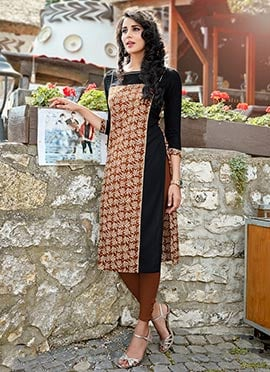Brown N Black Cotton Knee Length Kurti