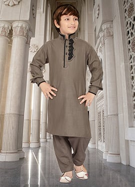 Grey Kids Art Silk Cotton Kurta Pyjama