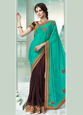 Brown N Blue Half N Half Saree
