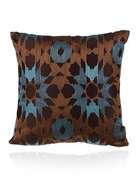 Brown N Blue PolySilk Cushion Cover