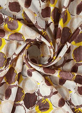 Brown N Cream Digital Printed Munga Silk Fabric