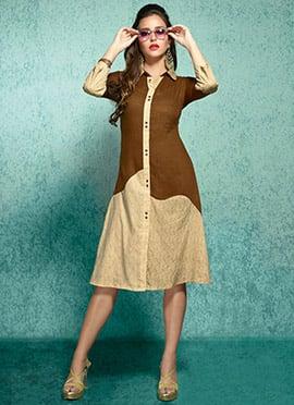 Brown N Cream Rayon Cotton Linen Kurti