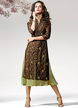 Brown N Green Cold Shoulder Printed Layered Kurti