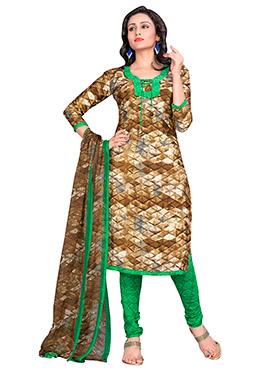 Brown N Green Crepe Churidar Suit