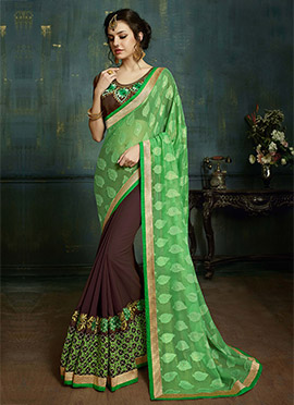 Brown N Green Half N Half Saree