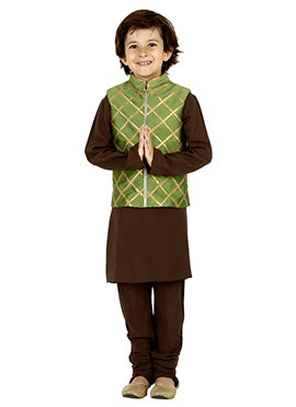Brown N Green Taffeta Silk Kids Bandi Set