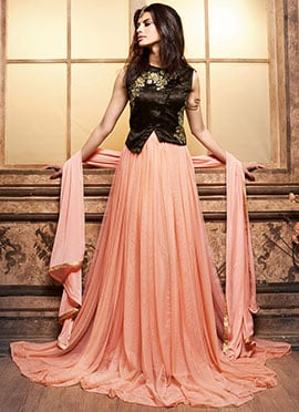 Brown N Light Orange Jacket Style Anarkali Suit