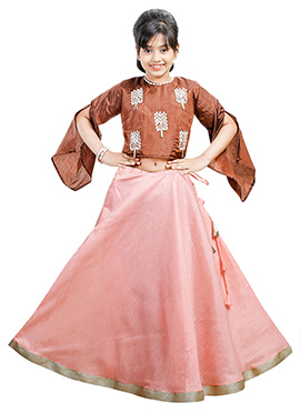 Brown N Light Pink Art Silk Kids A Line Lehenga