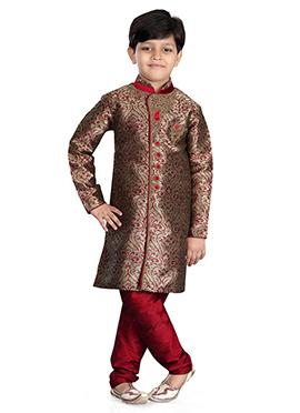 Brown N Maroon Jacquard Kids Kurta Pyjama