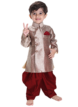 Brown N Maroon Silk Cotton Kids Kurta Pyjama