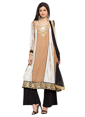 Brown N Off White Cotton Palazzo Suit