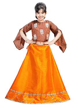 Brown N Orange Art Silk Kids A Line Lehenga