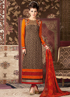 Brown N Orange Crepe Straight Suit