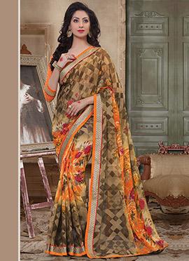 Brown N Orange Geometric N Floral Printed Saree