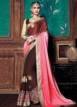 Brown N Pink Half N Half Saree