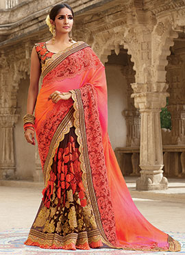 Brown N Pink Half N Half Saree