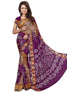 Brown N Purple Art Silk Bandhini Pattern Jacquard Saree