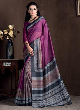 Brown N Purple Bhagalpuri Art Silk Saree