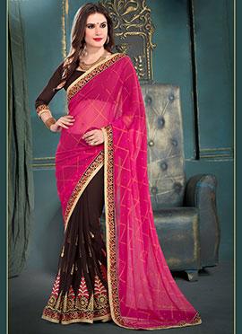 Brown N Rani Pink Half N Half Saree