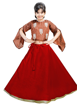 Brown N Red Art Silk Kids A Line Lehenga
