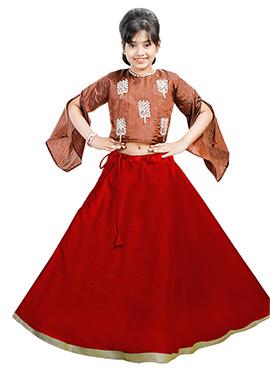 Brown N Red Art Silk Kids A Line Lehenga