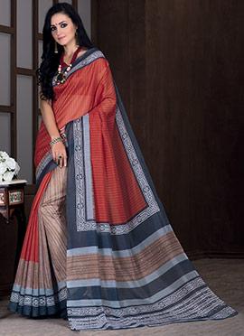 Brown N Rust Red Bhagalpuri Art Silk Saree