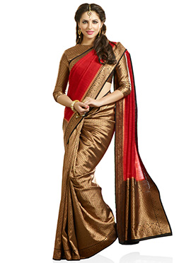 Brown N Red Half N Half Saree