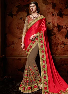 Brown N Red Half N Half Saree